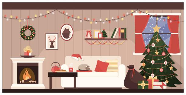 ilustrações de stock, clip art, desenhos animados e ícones de santa's house interior - braseiro