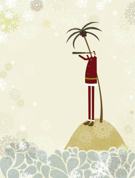 Santa's island vector art illustration