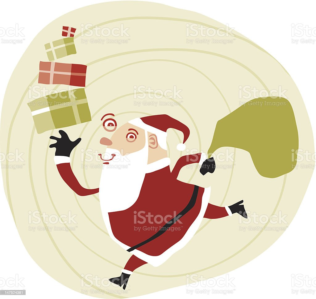 Santa's last minute delivery royalty-free stock vector art