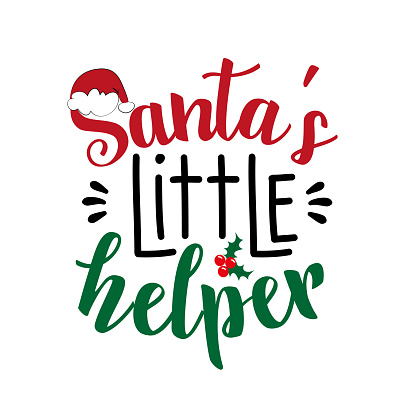 Santa's Little Helper - Christmas quote and decor elements, with santa's cap and mistletoe.