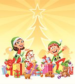 Happy Christmas Elves surrounded by Christmas presents and toys in front of a brightly shining Christmas tree. Christmas background or card with space for text. EPS 10 (file contains transparencies), fully editable and labeled in layers.