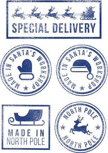 Santa's made in North Pole Christmas rubber stamps