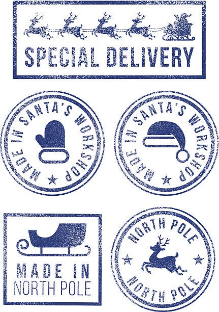 Santa's made in North Pole Christmas rubber stamps Santa's made in North Pole Christmas rubber stamps north pole stock illustrations