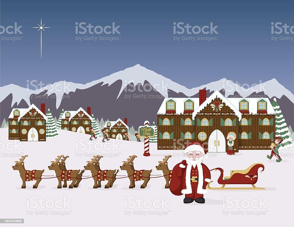 Santa's North Pole Village vector art illustration