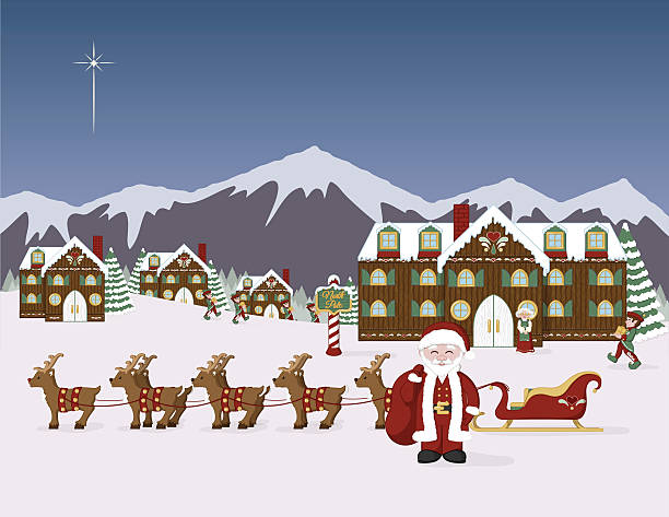 Santa's North Pole Village vector art illustration