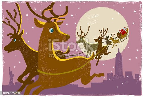 Santa and reindeer flying over New York in hand print texture style