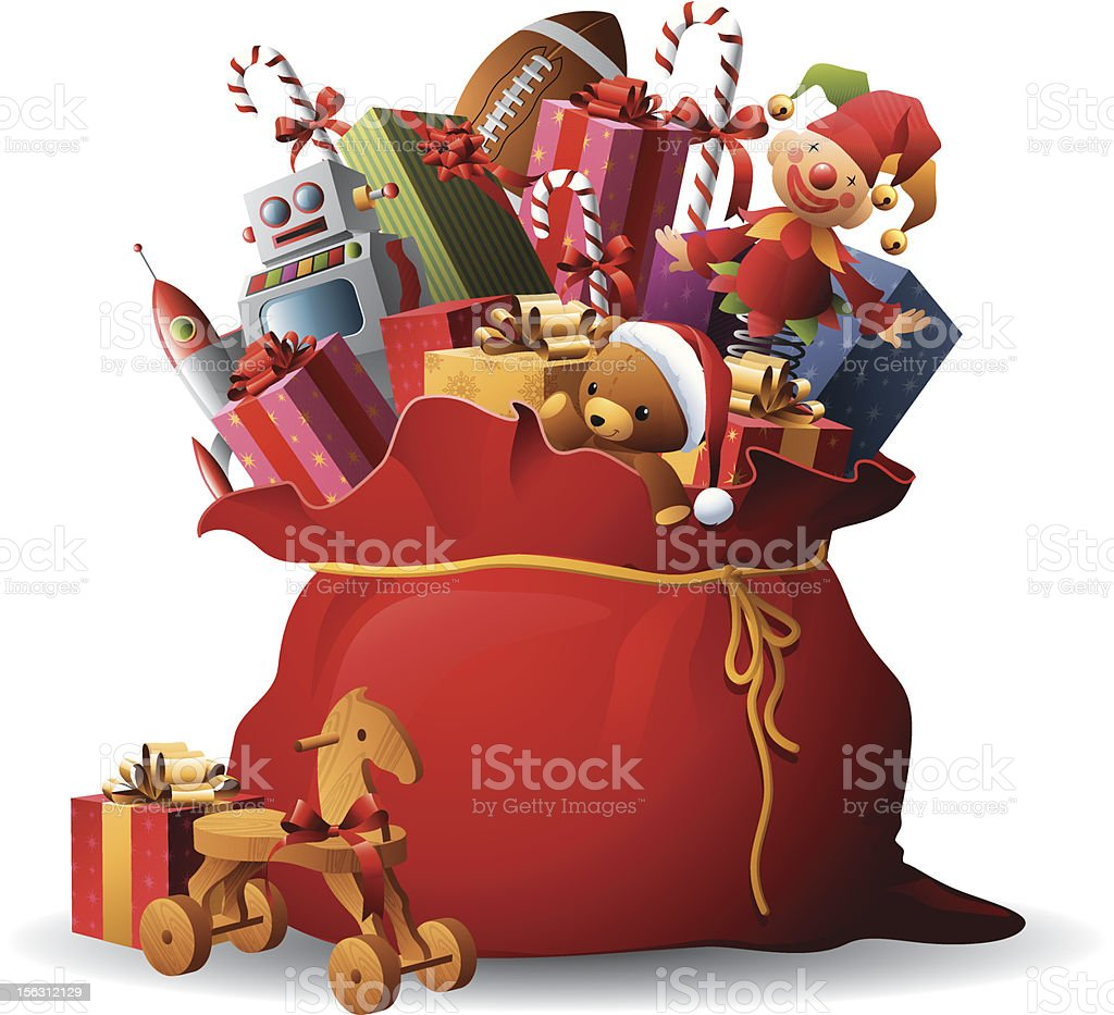 Bag Of Toys : Santas sack stock vector art more images of animal