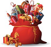 - sack full of toys and gifts