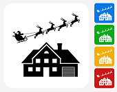 Santa's Slay Over the House Icon Flat Graphic Design
