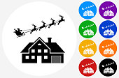 Santa's Sledge Over the House Icon on Flat Color Circle Buttons. This 100% royalty free vector illustration features the main icon pictured in black inside a white circle. The alternative color options in blue, green, yellow, red, purple, indigo, orange and black are on the right of the icon and are arranged in two vertical columns.