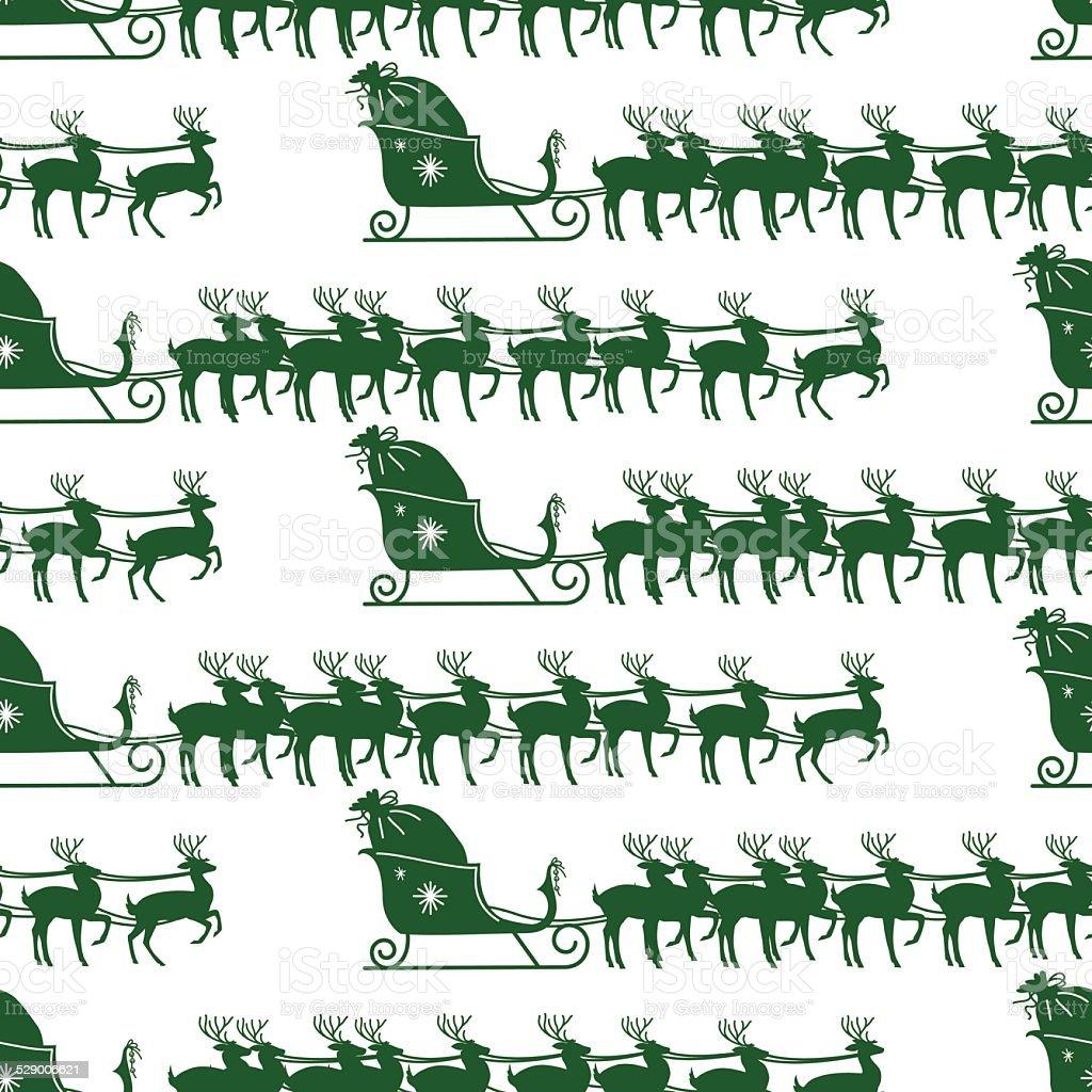Ilustración de Santas Trineo Y Renos Patrón Sin Costuras Verde y más ...