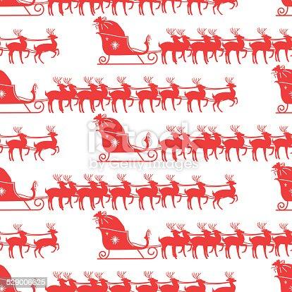 istock Santas Sleigh And Reindeer Seamless Pattern 529006625