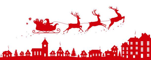 santas schlitten fliegt über eine stadt - weihnachtsmarkt stock-grafiken, -clipart, -cartoons und -symbole