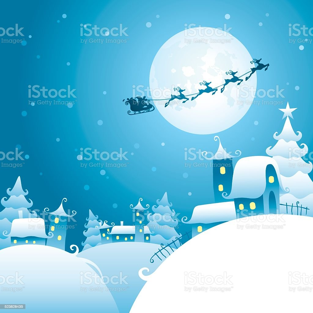 Santa's sleigh flying above the houses in christmas night.