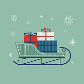 Santa Sleigh icon. Christmas snow sledge with gifts present boxes. Flat simple minimal style in retro colors. Design element for winter holiday season new year event. Vector illustration