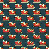 Santa's Sleigh Seamless Pattern