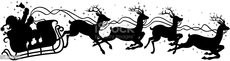 drawing of vector Santa's sleigh sign.This file was recorded with adobe illustrator cs4 transparent. EPS10 format.