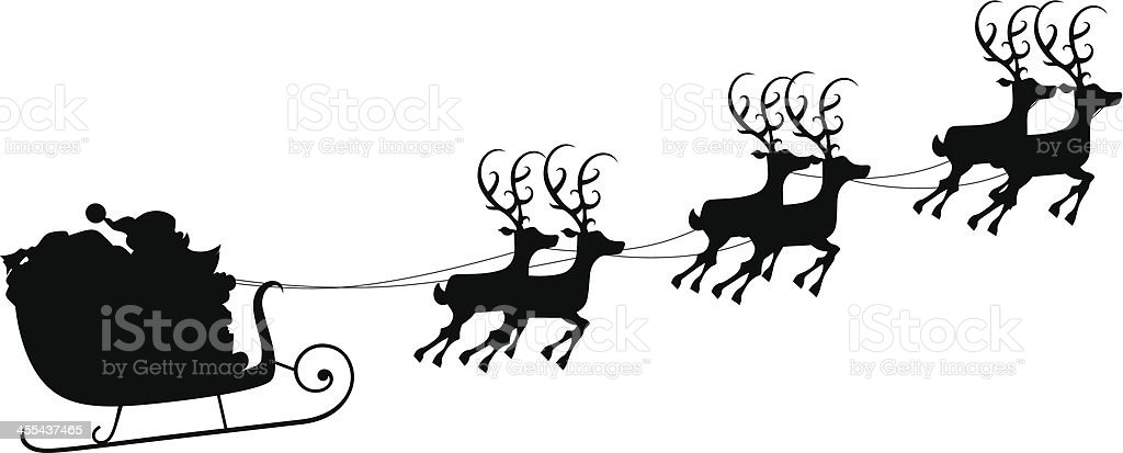santas sleigh silhouette stock vector art amp more images of