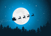 Vector illustration of santa driving his sleigh with reindeers running in the moonlight. Merry christmas ! Vector eps and high resolution jpeg files included