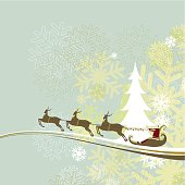 Christmas card with Santa's sleigh over snowflakes background.