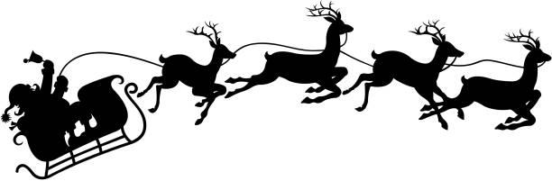 illustrations, cliparts, dessins animés et icônes de santa s traîneau - renne