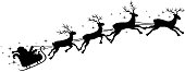 drawn of vector santa's sleigh silhouette.This file has been used illustrator cs3 EPS10.