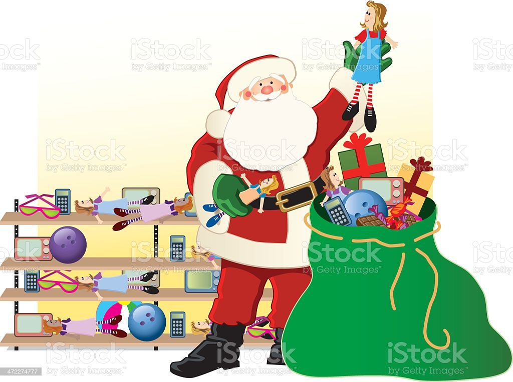 Santa's Toy Bag Jolly St. Nicholas on Christmas Eve, stuffs his bag with toys and gifts. Bag stock vector