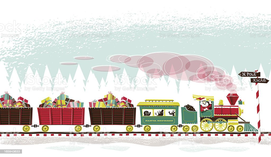 Santa's Train vector art illustration