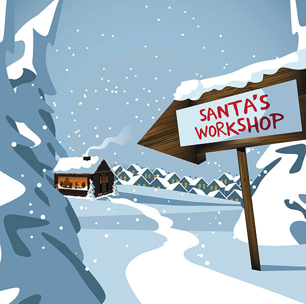 Santa's workshop at the north pole Santa's workshop at the north pole. EPS 10 vector royalty free stock illustration for ad, promotion, poster, flier, blog, article, social media, marketing north pole stock illustrations