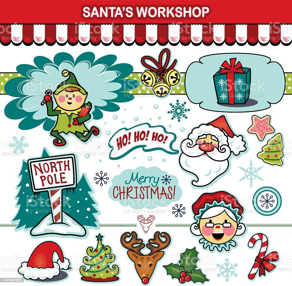 Santa's workshop Christmas holiday collection vector art illustration