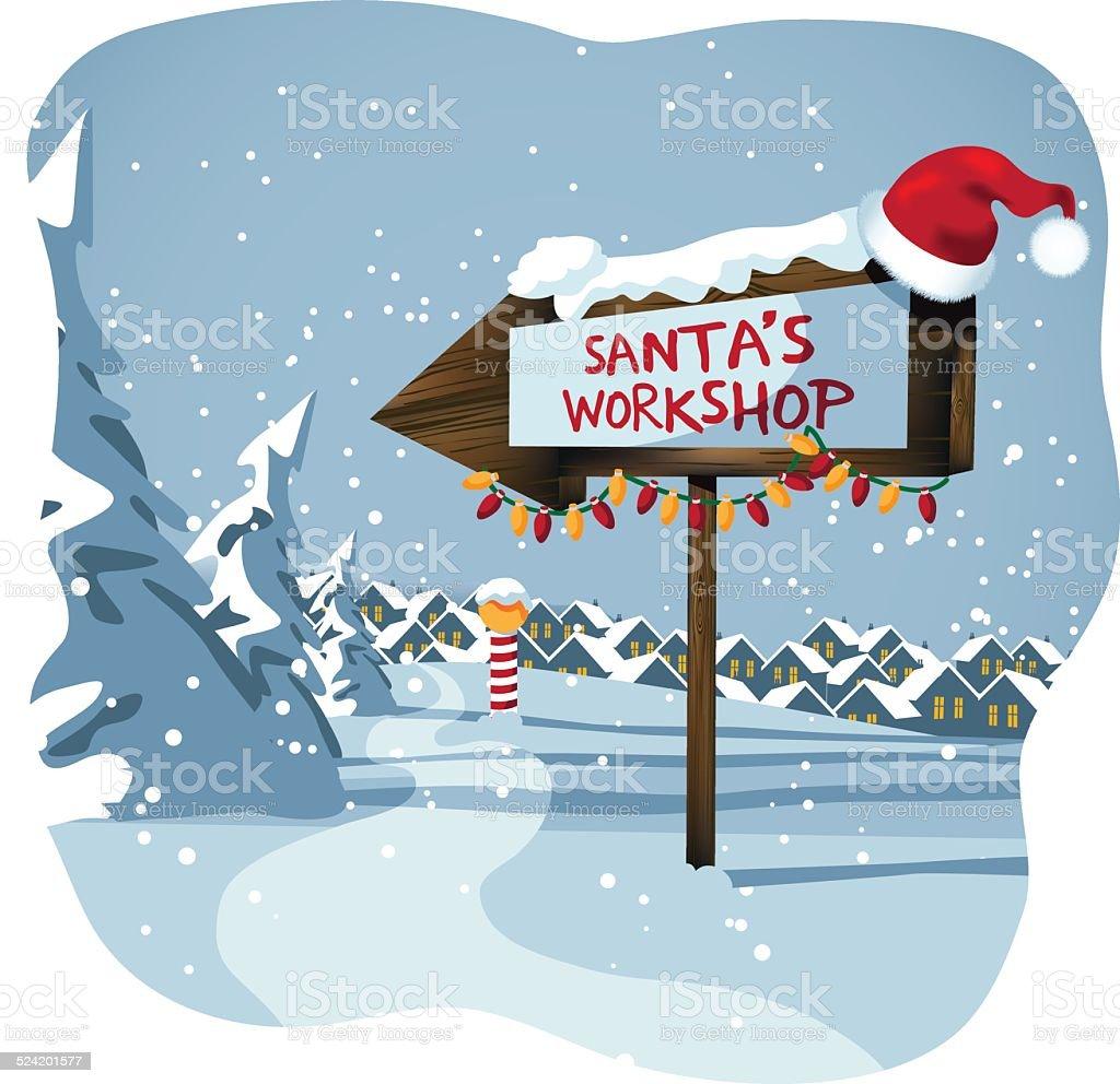 Panneau Atelier du Père Noël au Pôle Nord - Illustration vectorielle