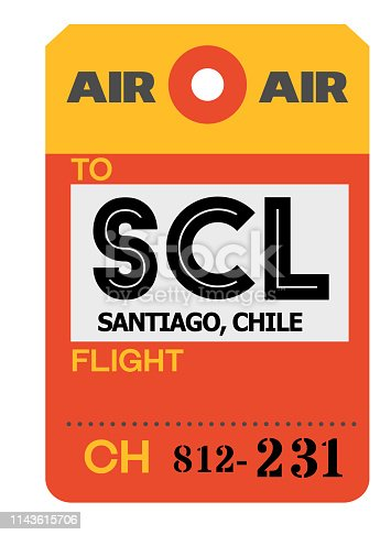 Santiago realistically looking airport luggage tag illustration