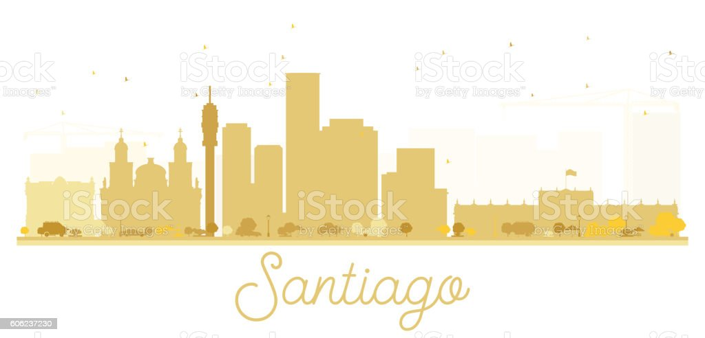 Santiago City skyline golden silhouette. vector art illustration