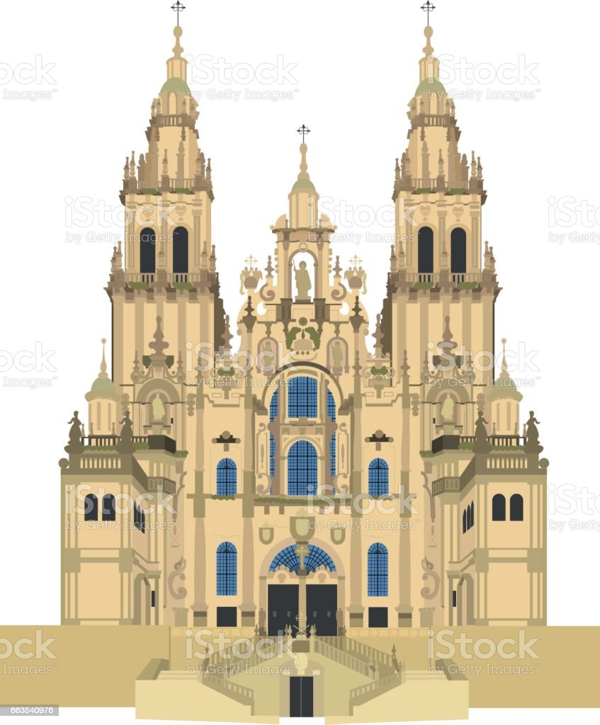 Santiago de Compostela Cathedral, Spain Vector illustration. vector art illustration