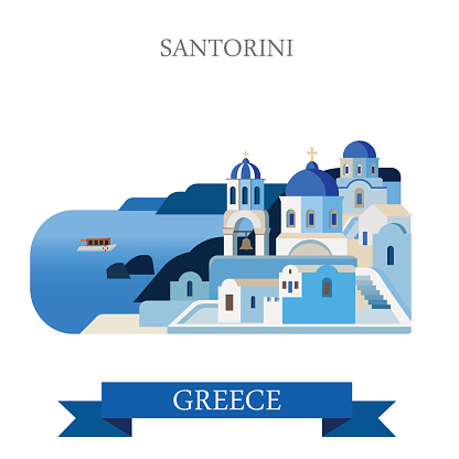 Santorini Aegean Sea Islands in Greece. Flat cartoon style historic sight showplace attraction web site vector illustration. World countries cities vacation travel sightseeing collection.