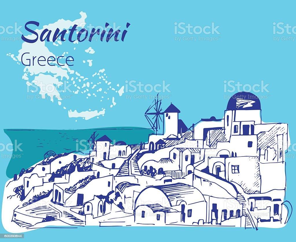 Santorini outline sketch - Greece. vector art illustration