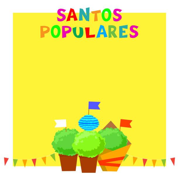 santos populares portugalski sztandar festiwalu z bunting girlandy, flagi i rośliny manjerico. - lizbona stock illustrations