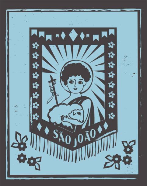 stockillustraties, clipart, cartoons en iconen met sao joao (st. johannes de doper) illustratie voor festa junina kapp vector - houtgravure