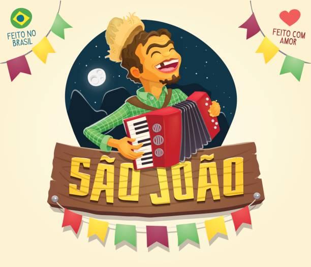 Sao Joao (Johannes) Schild mit glücklich Hinterwäldler spielt Akkordeon - brasilianische June Party – Vektorgrafik