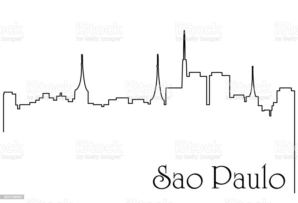 Sao Paolo City One Line Drawing Background Stock Illustration
