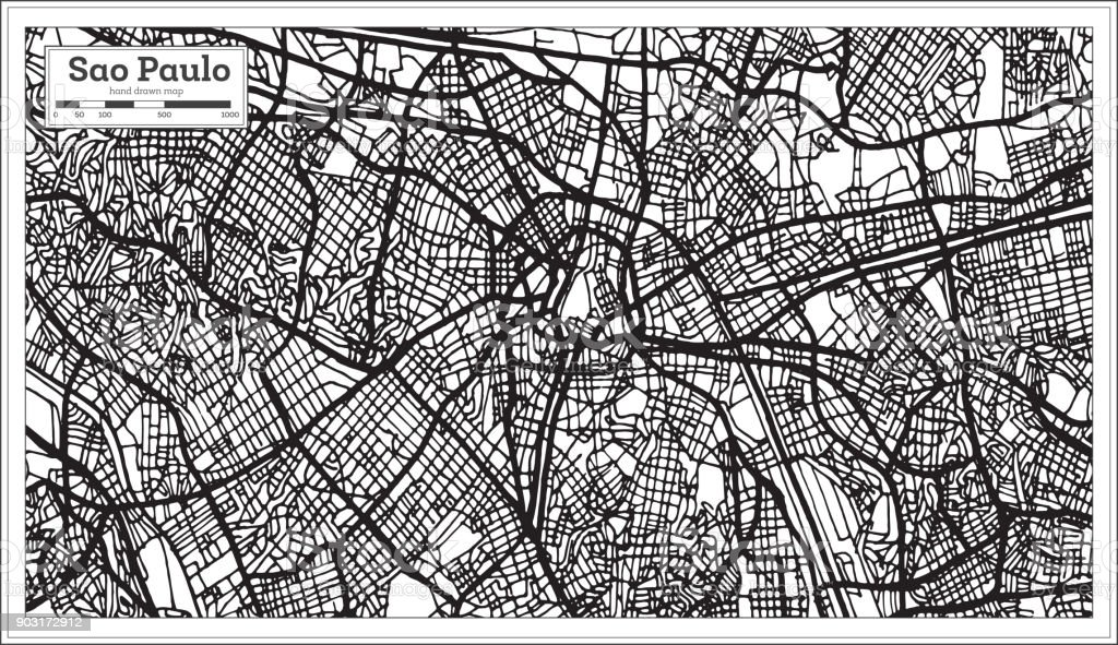 Sao Paulo Brazil City Map in Black and White Color. vector art illustration