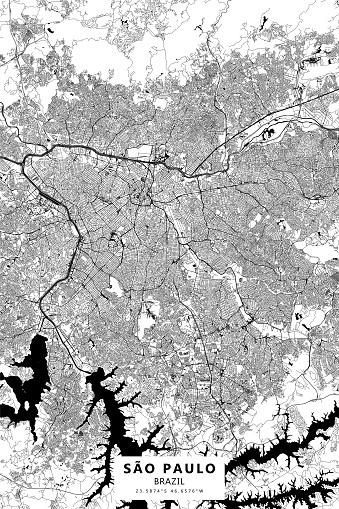 Sao Paulo, Brazil Vector Map