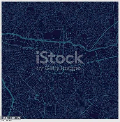 sao paulo city blue structure art map,Brazil