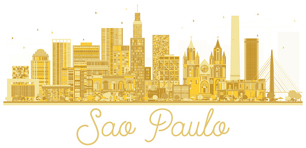 Sao Paulo City skyline golden silhouette.