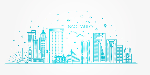 Sao Paulo city skyline vector background. Illustration