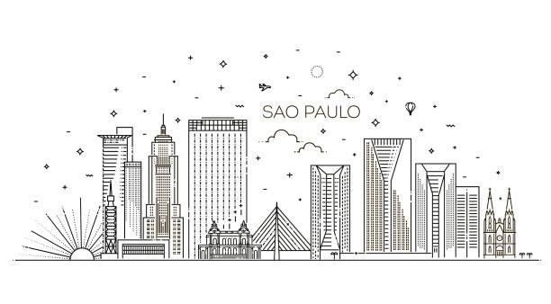 Skyline-Vektorhintergrund in der Stadt Sao Paulo – Vektorgrafik