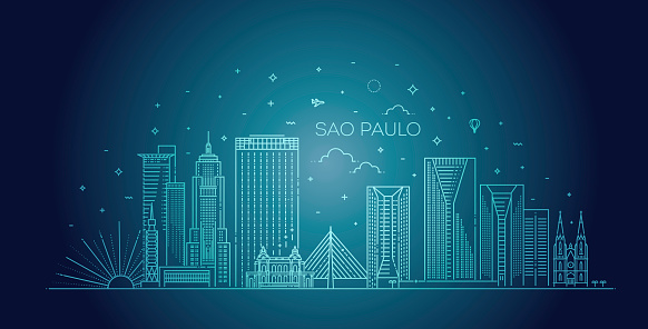 Sao Paulo city skyline vector background