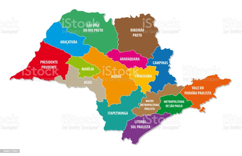 Sao Paulo Colorful Administrative And Political Map Stock ...