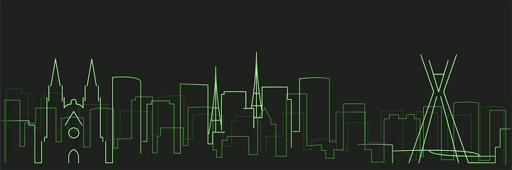 Sao Paulo Futurist Technology Light Trace Skyline