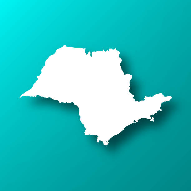 Sao Paulo map on Blue Green background with shadow vector art illustration